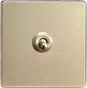 XDNT7S Varilight 1 Gang (Single), (3 Way) intermediate Classic Toggle Switch, Dimension Screwless Satin Chrome