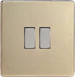 XDN2S Varilight 2 Gang (Double), 1 or 2 Way 10 Amp Switch, Dimension Screwless Satin Chrome