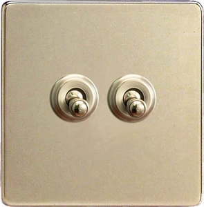 XDNT2S Varilight 2 Gang (Double), 1 or 2 Way 10 Amp Classic Toggle Switch, Dimension Screwless Satin Chrome