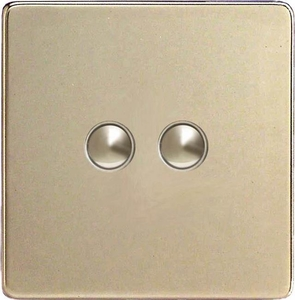 XDNP2S Varilight 2 Gang (Double) 1 or 2 way 6 Amp Push-on Push-off Switch (impulse), Dimension Screwless Satin Chrome