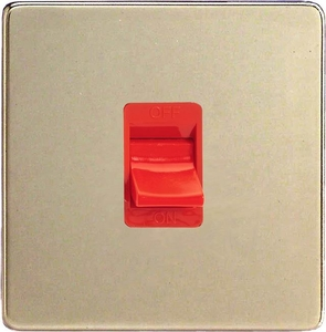 XDN45SWS-SP Varilight 45 Amp Cooker Switch (Single Size), Dimension Screwless Satin Chrome (Bespoke & Special)