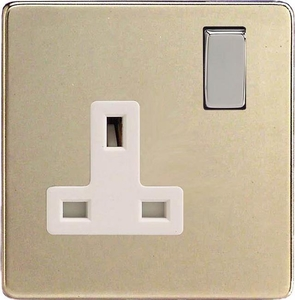 XDN4WS Varilight 1 Gang (Single), 13 Amp Switched Socket, Dimension Screwless Satin Chrome
