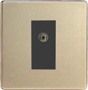 XDNG8BS Varilight 1 Gang (Single), Co-axial TV Socket, Dimension Screwless Satin Chrome with Black insert