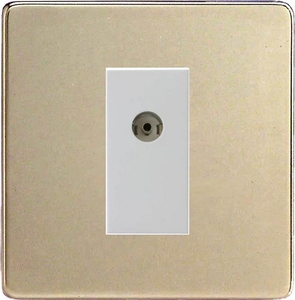 XDNG8WS Varilight 1 Gang (Single), Co-axial TV Socket, Dimension Screwless Satin Chrome with White insert