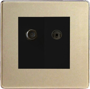 XDNG88SBS Varilight 2 Gang (Double), Co-axial TV and Satellite Socket, Dimension Screwless Satin Chrome