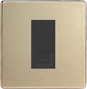 XDNGTMBS Varilight 1 Gang (Single), Telephone Master Socket, Dimension Screwless Satin Chrome with Black insert