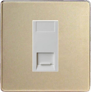 XDNGTMWS Varilight 1 Gang (Single), Telephone Master Socket, Dimension Screwless Satin Chrome Finish with White insert