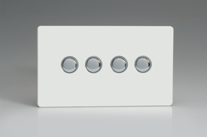 XDQP4S Varilight 4 Gang (Quad) 1 or 2 way 6 Amp Push-on Push-off Switch (impulse), Dimension Screwless Premium White
