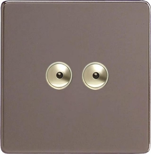 IDRI252MS Varilight 2 Gang, 1 or 2 Way or Multi-way 2x250 Watt Touch/Remote Master Dimmer, Dimension Screwless Pewter