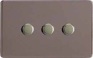 IDRDP303S Varilight V-Plus 3 Gang, 1 or 2 Way 3x300 Watt/VA Dimmer, Dimension Screwless Pewter