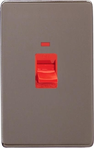 XDR45NBS Varilight 45 Amp Cooker Switch with Neon (Vertical Double Size), Dimension Screwless Pewter