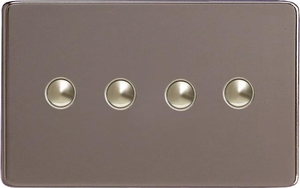 XDRP4S Varilight 4 Gang (Quad) 1 or 2 way 6 Amp Push-on Push-off Switch (impulse), Dimension Screwless Pewter