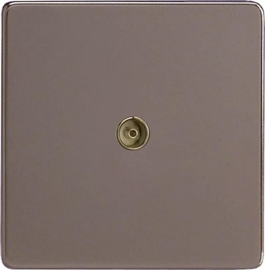 XDR8S Varilight 1 Gang (Single), Co-axial TV Socket, Dimension Screwless Pewter