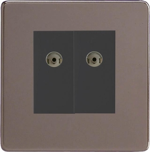 XDRG88BS Varilight 2 Gang (Double), Co-axial TV Socket, Dimension Screwless Pewter