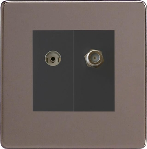 XDRG88SBS Varilight 2 Gang (Double), Co-axial TV and Satellite Socket, Dimension Screwless Pewter
