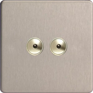 IDSI402MS Varilight 2 Gang, 1 or 2 Way or Multi-way 2x400 Watt Touch/Remote Master Dimmer, Dimension Screwless Brushed Steel