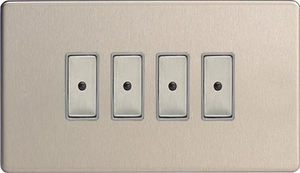 JDSE104S - Varilight V-Pro Series Eclique2, 4 gang Intelligent Programmable Master Dimmer, with Tactile Touch Button and Integrated Remote Control Sensor 0-100 Watts of LEDs (10 LEDs Max), Dimension Screwless Brushed Steel