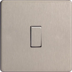 XDS1S Varilight 1 Gang (Single), 1 or 2 Way 10 Amp Switch, Dimension Screwless Brushed Steel