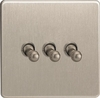 XDST3S Varilight 3 Gang (Triple), 1 or 2 Way 10 Amp Classic Toggle Switch, Dimension Screwless Brushed Steel
