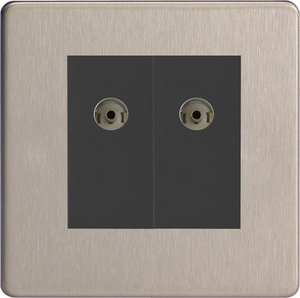 XDSG88BS Varilight 2 Gang (Double), Co-axial TV Socket, Dimension Screwless Brushed Steel