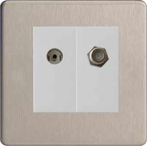 XDSG88SWS Varilight 2 Gang (Double), Co-axial TV and Satellite Socket, Dimension Screwless Brushed Steel