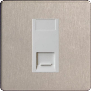 XDSGTMWS Varilight 1 Gang (Single), Telephone Master Socket, Dimension Screwless Brushed Steel  Finish with White insert