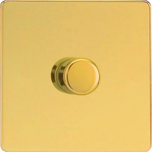 HDV6LS-SP Varilight V-Dim Series 1 Gang, 1 or 2 Way 630 Watt Low Voltage Dimmer, Dimension Screwless Polished Brass Effect (Bespoke)