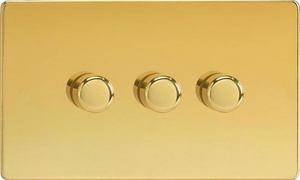 IDVDP303S Varilight V-Plus 3 Gang, 1 or 2 Way 3x300 Watt/VA Dimmer, Dimension Screwless Polished Brass Effect