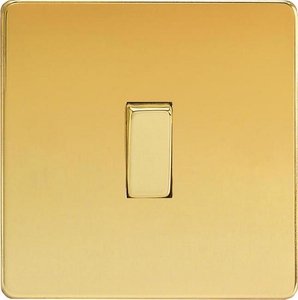 XDV1S Varilight 1 Gang (Single), 1 or 2 Way 10 Amp Switch, Dimension Screwless Polished Brass Effect