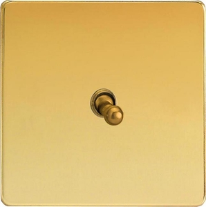 XDVT7S Varilight 1 Gang (Single), (3 Way) intermediate Classic Toggle Switch, Dimension Screwless Polished Brass Effect