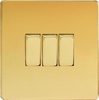 XDV3S Varilight 3 Gang (Triple), 1 or 2 Way 10 Amp Switch, Dimension Screwless Polished Brass Effect