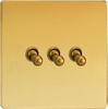 XDVT3S Varilight 3 Gang (Triple), 1 or 2 Way 10 Amp Classic Toggle Switch, Dimension Screwless Polished Brass Effect