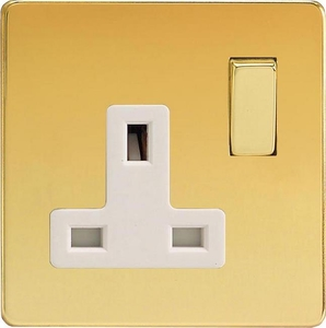 XDV4WS Varilight 1 Gang (Single), 13 Amp Switched Socket, Dimension Screwless Polished Brass Effect