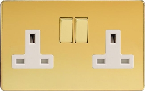 XDV5WS Varilight 2 Gang (Double), 13 Amp Switched Socket, Dimension Screwless Polished Brass Effect