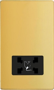 XDVSSBS Varilight Dual Voltage Shaver Socket, Dimension Screwless Polished Brass Effect