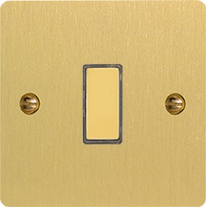 JFBES001 - Varilight V-Pro Series Eclique2, 1 Gang Tactile Touch Button Slave Unit for 2 way or Multi-way Circuits Only, Ultra Flat Brushed Brass Effect