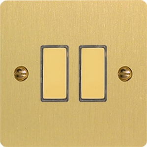JFBES002 - Varilight V-Pro Series Eclique2, 2 Gang Tactile Touch Button Slave Unit for 2 way or Multi-way Circuits Only, Ultra Flat Brushed Brass Effect