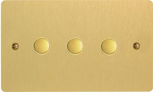 IFBS003 Varilight 3 Gang, Multi-way Touch Slave Unit, Ultra Flat Brushed Brass Effect