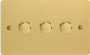 Varilight JFBDP303, V-Pro Series, 3 Gang, 1 or 2 Way, Push-On/Off Rotary LED Dimmer 3 x 0-120W (1-10 LEDs) (Twin Plate), Ultra Flat Brushed Brass Effect