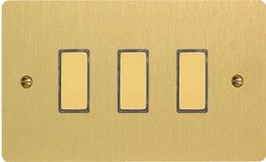 JFBES003 - Varilight V-Pro Series Eclique2, 3 Gang Tactile Touch Button Slave Unit for 2 way or Multi-way Circuits Only, Ultra Flat Brushed Brass Effect