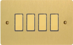 JFBES004 - Varilight V-Pro Series Eclique2, 4 Gang Tactile Touch Button Slave Unit for 2 way or Multi-way Circuits Only, Ultra Flat Brushed Brass Effect