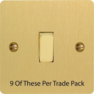 XFB1D-P9   This is a Trade Pack item: 9 Units per box.  Varilight 1 Gang (Single), 1 or 2 Way 10 Amp Switch, Ultra Flat Brushed Brass Effect
