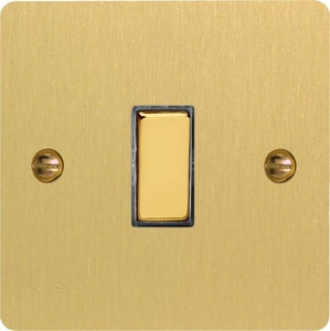 XFB20D Varilight 1 Gang (Single), 1 Way 20 Amp Double Pole Switch, Ultra Flat Brushed Brass Effect