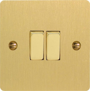 XFB2D Varilight 2 Gang (Double), 1 or 2 Way 10 Amp Switch, Ultra Flat Brushed Brass Effect