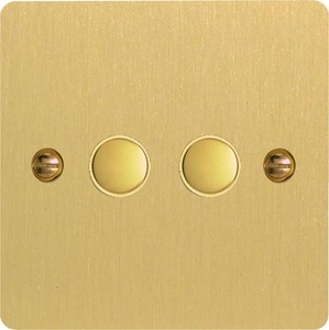 XFBP2 Varilight 2 Gang (Double) 1 or 2 way 6 Amp Push-on Push-off Switch (impulse), Ultra Flat Brushed Brass Effect