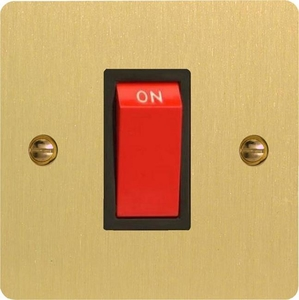 XFB45SB Varilight 45 Amp Cooker Switch (Single Size), Ultra Flat Brushed Brass Effect