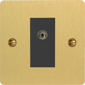 XFBG8ISOB Varilight 1 Gang (Double), Isolated Co-axial TV Socket, Ultra Flat Brushed Brass Effect