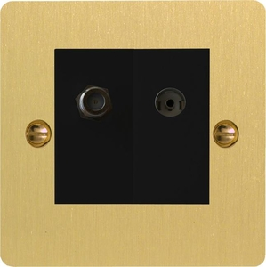 XFBG88SB Varilight 2 Gang (Double), Co-axial TV and Satellite Socket, Ultra Flat Brushed Brass Effect