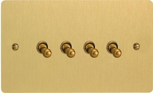 XFBT9 Varilight 4 Gang (Quad), 1or 2 Way 10 Amp Classic Toggle Switch, Ultra Flat Brushed Brass Effect (Double Plate)