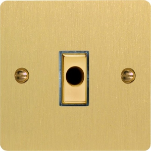 XFBFOD Varilight Flex Outlet Plate with Cable Clamp, Polished Brass Effect insert, Ultra Flat Brushed Brass Effect